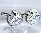 TISSOT Steampunk Men Cufflinks - Luxury TISSOT Swiss Silver Vintage Watch Movement Men Steampunk Cufflinks / Cuff link - Men Wedding Gift