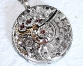 Steampunk Necklace: RARE 122 Yrs Old Antique Pocket Watch Movement - Amazing Silver Guilloche Etched Steampunk Necklace Valentines Day Gift
