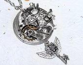 Steampunk Necklace - Alice in Wonderland Rabbit & Antique Pocket Watch Movement - Silver Guilloche Etched - Wing Key Steampunk Necklace Gift