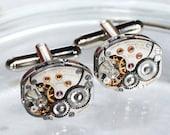 LONGINES Steampunk Cufflinks - Luxury Swiss Silver Vintage Watch Movement - MATCHING Men Steampunk Cufflinks Cuff Links Valentines Day Gift