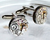 LONGINES Steampunk Cufflinks: Swiss Luxury Silver PINSTRIPE Vintage Watch Movement Men Steampunk Cufflinks Cuff Links Men Christmas Gift