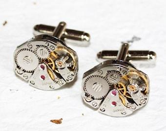 Steampunk Cufflinks - Vintage Matching CITIZEN Jewel Watch Movement Men Steampunk Cufflinks Watch Cuff Links Groom Jewelry Wedding Gift Men