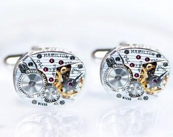 HAMILTON Steampunk Cufflinks - Luxury PINSTRIPE ETCHED 100% Matching Vintage Silver Watch Movement Men Steampunk Cufflinks Men Wedding Gift