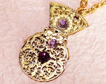 Steampunk Necklace: Highly Ornate 1760-1830 English Antique Pocket Watch Gold Hand-Pierced VERGE FUSEE & Amethyst Swarovski Wedding Gift