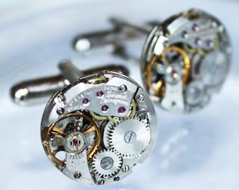 GIRARD PERREGAUX Steampunk Cufflinks - RARE Prestigious Luxury Swiss Vintage Silver Watch Movement - Genuine Men Steampunk Cufflinks Gift
