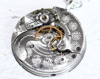 Steampunk Necklace Jewelry - MAGNIFICENT 115 yrs old Flower GUILLOCHE ETCHED Elgin Antique Pocket Watch Movement - Steampunk Necklace Gift