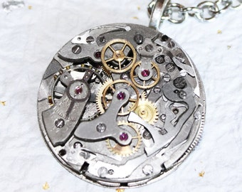 "Steampunk Necklace Jewelry -Ultra HIGH END Vintage ""Le Landeron"" Swiss CHRONOGRAPH Watch Movement Men Steampunk Necklace Men Wedding Gift"