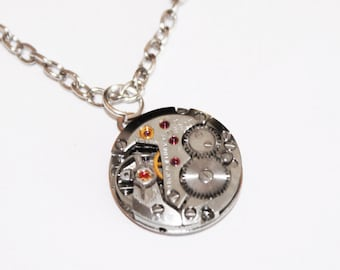 TISSOT Steampunk Necklace - Swiss Luxury Silver Vintage Watch Movement Men Steampunk Necklace Jewelry Men Valentines Day Gift for Him