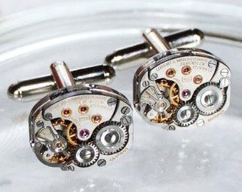 LONGINES Steampunk Cufflinks - Luxury Swiss Silver Vintage Watch Movement - MATCHING Men Steampunk Cufflinks Cuff Links Men Wedding Gift