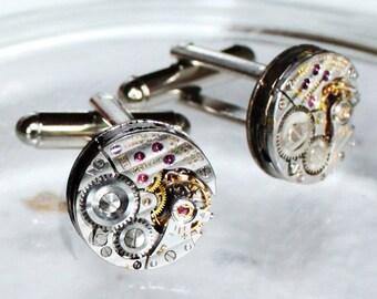 LONGINES Steampunk Cufflinks: Swiss Luxury Silver PINSTRIPE Vintage Watch Movement Men Steampunk Cufflinks Cuff Links Wedding Gift