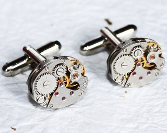 Men Wedding Gift Steampunk Cufflinks - Russian PINSTRIPE Silver Vintage Watch Movement Men Steampunk Cufflinks Cuff Links Men Wedding Gift