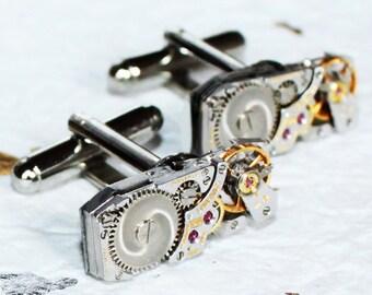 LONGINES Steampunk Cufflinks - Swiss Luxury Silver Vintage Watch Movement - MATCHING Men Steampunk Cufflinks Cuff Links Wedding Gift