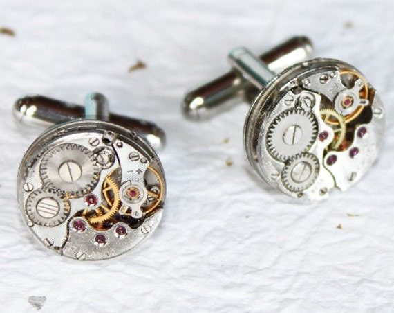 Wedding Gift for Him - Men Steampunk Cufflinks Rare Silver Watch Movement Men Steampunk Watch Cufflinks Groom Gift Men Wedding Gift for Him