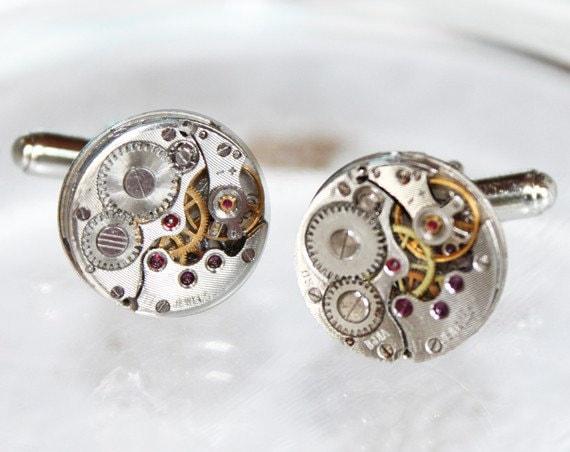 Steampunk Wedding Gifts: Wedding Gift For Him Men Steampunk Cufflinks Rare Silver