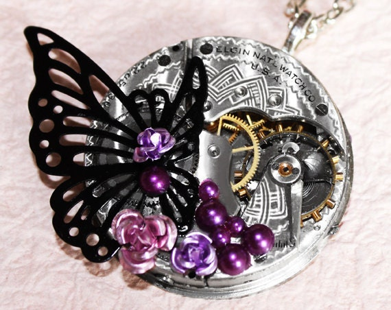 Steampunk Necklace -  Butterfly & Impressive 92 yrs old Elgin GUILLOCHE ETCHED Antique Vintage Pocket Watch Movement - Wedding Gift