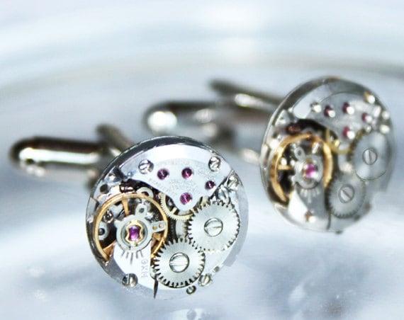 GIRARD PERREGAUX Steampunk Cufflinks - RARE Prestigious Luxury Swiss Vintage Watch Movement Men Steampunk Cufflinks Cuff Links Wedding Gift