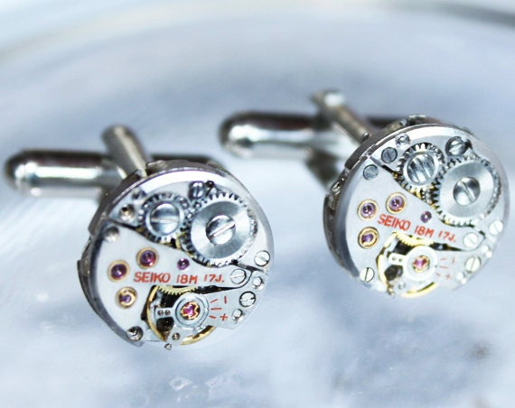 SEIKO Steampunk Cufflinks - Vintage Silver Watch Movement -100% Matching Men Steampunk Cufflinks - Wedding Fathers Day Gift for Him
