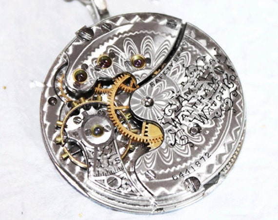 Steampunk Necklace - Magnificent 121 yrs old WALTHAM Antique Silver Pocket Watch Movement - Flower GUILLOCHE ETCHED Men Steampunk Necklace