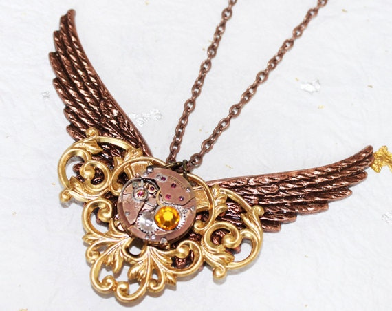 Steampunk Necklace - STRIKING Wings with Victorian Vines - Exquisite Gold Vintage Watch Movement Steampunk Necklace / Anniversary Gift
