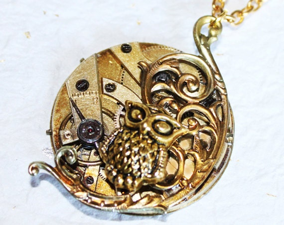 Steampunk Necklace - HIGH END c1830-1875 Antique Swiss Pocket Watch Movement - Exquisite Gold Owl Steampunk Necklace - Christmas Gift