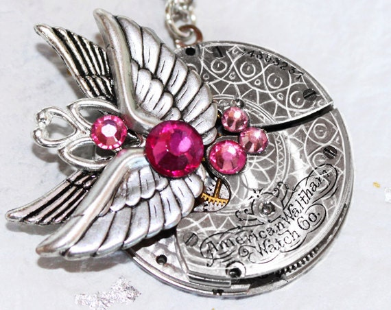 Steampunk Necklace - Double Wing WALTHAM Antique Pocket Watch Movement - Silver GUILLOCHE ETCHED Steampunk Necklace - Wedding Gift