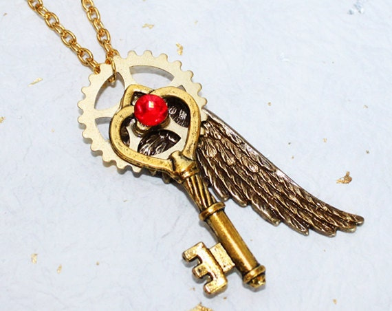 Steampunk Necklace - Gold Wing Gear Heart Key Steampunk Necklace - Red Siam Swarovski Crystal - Wedding Valentines Day Gift for Couple
