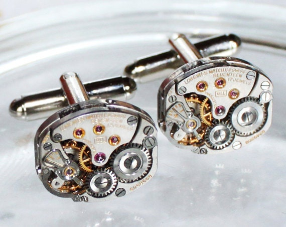 LONGINES Steampunk Cufflinks - Luxury Swiss Silver Vintage Watch Movement - MATCHING Men Steampunk Cufflinks Cuff Links Men Fathers Day Gift