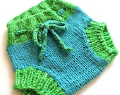 Newborn Wool Soaker, Diaper Cover, Hand Knit, Aqua Blue, Lime Green, Gender Neutral, Small, by Bright Rose Creations