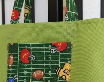 Childrens Tote Bag, Green With Football Print Pocket and Handles by Bright Rose Creations