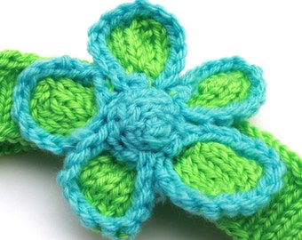 FLOWER Headband, Child or Adult, Hand Knit, Lime Green and Pale Blue,  Acrylic, TESTER,  by Bright Rose Creations