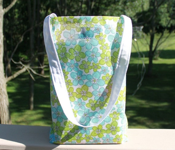 Large Floral Tote Bags, Set of Two, Green and Blue Floral with White Handles by Bright Rose Creations