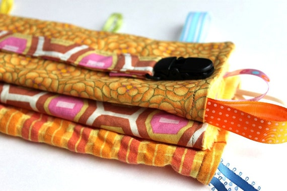 Tabbed Blanket or Lovey with FREE Pacifier Clip, Amy Butler Fabric, Pink, Orange, Sunshine Yellow, Reversible, Minky by Bright Rose