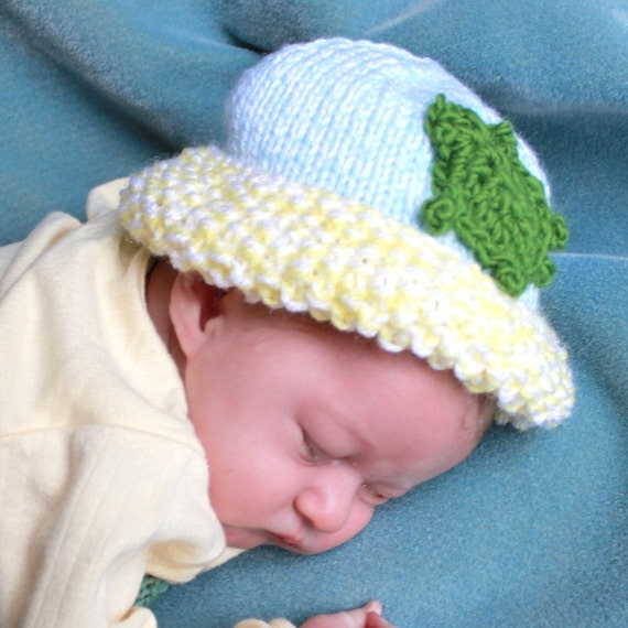 Small Baby Hat, 3 to 6 months, Turtle Applique, Hand Knit, Blue & Yellow, Green Stripe, Acrylic  by Bright Rose Creations