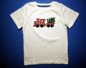 Embroidery and Appliqued Boys Christmas Tree Train Baby One piece or Toddler T-shirt