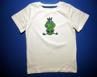 Baby one piece or  toddler tshirt - Embroidery and Appliqued Boys Frog Prince