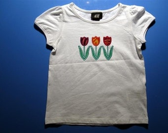 Baby one piece or  toddler tshirt - Embroidery and Appliqued Girls Tulip Trio