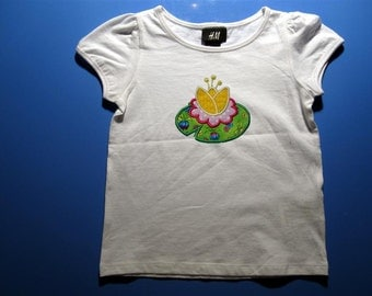 Baby one piece or  toddler tshirt - Embroidered and appliqued girls lily pad
