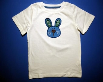 Baby one piece or toddler tshirt - Embroidery and appliqued boys Easter bunny