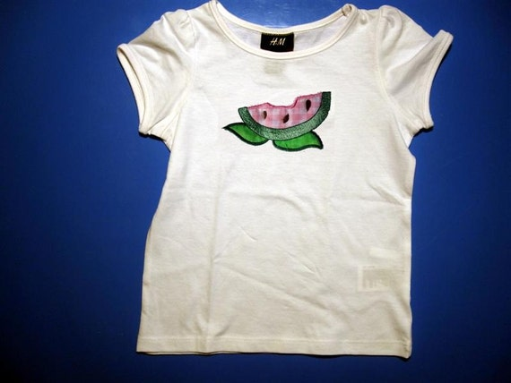 Baby one piece or  toddler tshirt - Embroidery and appliqued girls summer watermelon