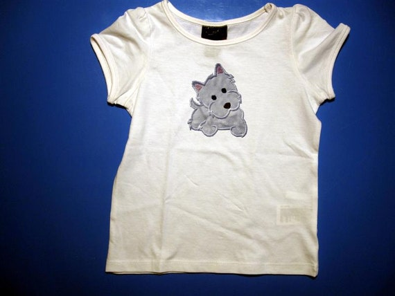 Baby one piece or  toddler tshirt - Embroidery and appliqued  girls terrier dog