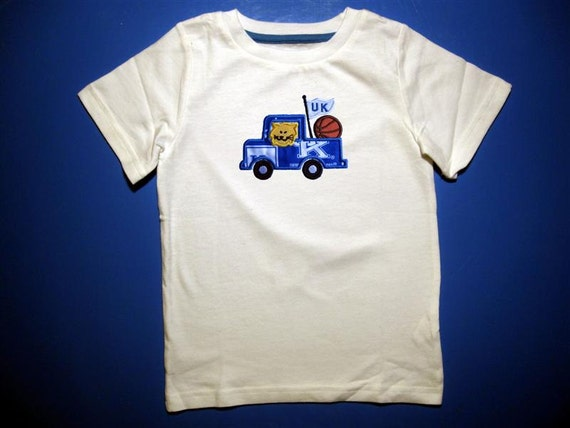 Baby one piece or  toddler tshirt - Embroidery and appliqued Kentucky basketball team truck