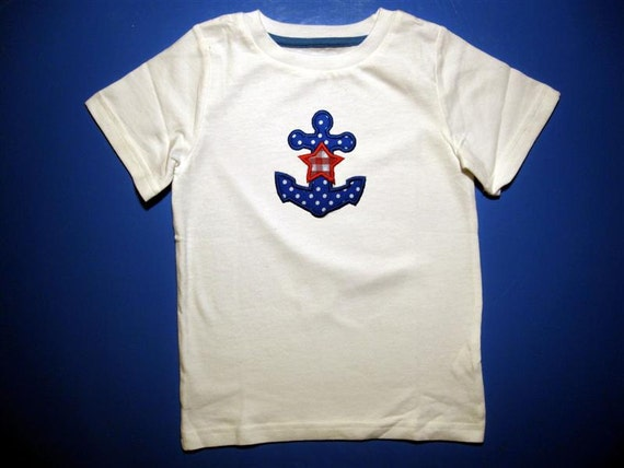 Baby one piece or  toddler tshirt - Embroidery and appliqued  boys boat anchor