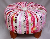 Fabulous Footstool Pink Peony Red Rose
