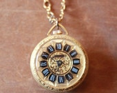 Vintage 50's double sided wind up Lucerne Swiss Watch Pendant with smokey Crystal Rhinestones