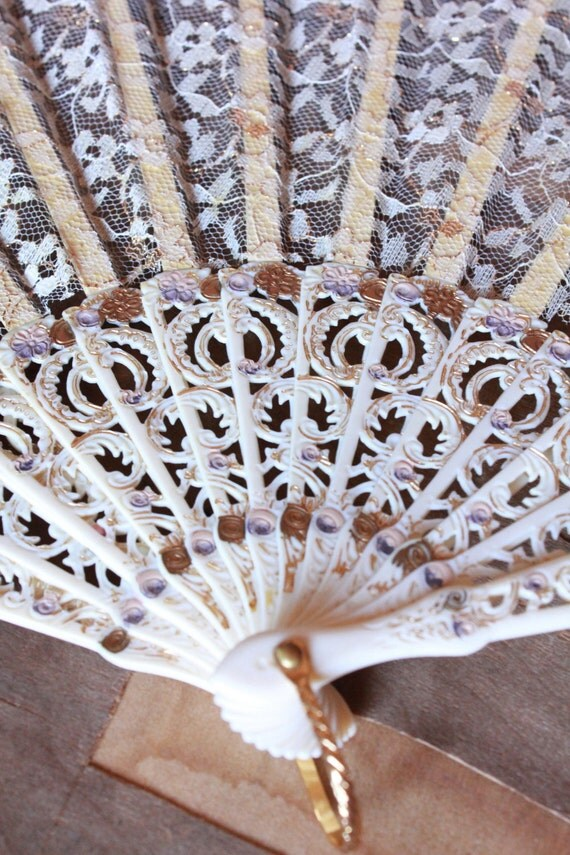 Antique 30's gold and cream hand painted lace fan