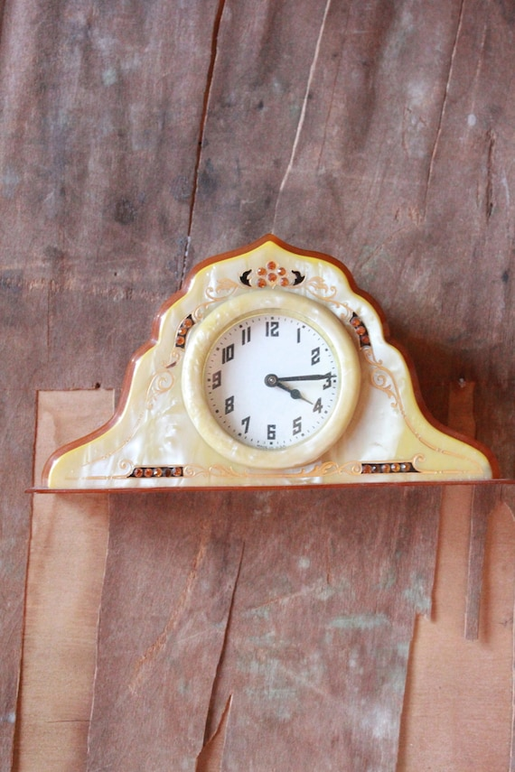Antique 20's amber Celluloid Vanity Clock