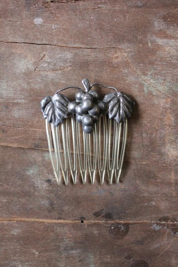 Antique 30's Art Deco Sterling Silver Grape leaf Hair Comb