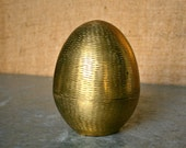 Vintage Carved Brass Egg