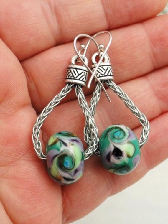 Teal Lampwork Art Glass Earrings - Dangles