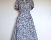 "1950s/60s Vintage ""Simplicity"" floral ditsy tea day dress UK 14 16 US 10 12"